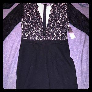 Black and nude midi dress